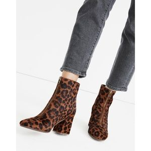Madewell Amalia Front-Zip Leopard Ankle Boot